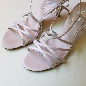 Satin White heel sandals